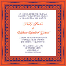 Tango Tangerine Lotus Borders Invitation