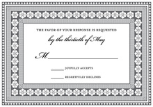 Grey Black Classic Lotus Borders RSVP Cards