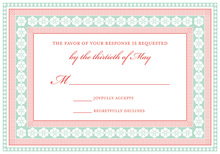 Flamingo Mint Classic Lotus Borders RSVP Cards