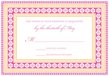 Dark Pink Tangerine Lotus Borders RSVP Cards