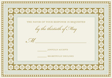 Teak Grey Lotus Borders RSVP Cards