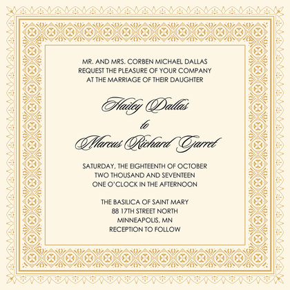 Gold Deco Tile Borders RSVP Cards