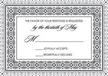 Black Deco Tile Borders RSVP Cards