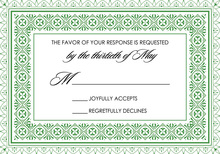 Green Deco Tile Borders RSVP Cards