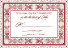Dark Red Gold Deco Tile Borders RSVP Cards
