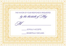 Yellow Deco Tile Borders RSVP Cards