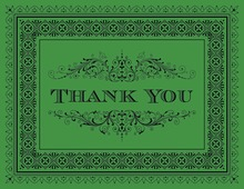 Green Deco Tile Borders Thank You Cards