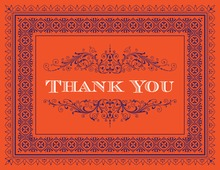 Tango Tangerine Deco Tile Borders Thank You Cards