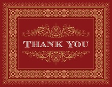 Dark Red Gold Deco Tile Borders Thank You Cards