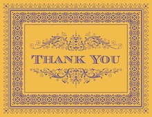 Yellow Deco Tile Borders Thank You Cards