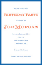 Simple Border Blue Ecru Invitations