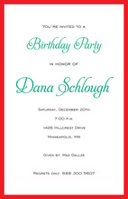 Simple Border Red Ecru Invitations