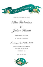 Teal Floral Scroll Invitations