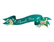 Teal Floral Scroll Thank You Cards