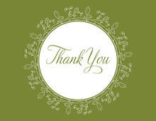 Oak Leaves Formal Green Thank You Cards