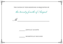 Wraught Iron Frame Turquoise RSVP Cards