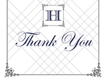Wraught Iron Frame Blue Thank You Cards