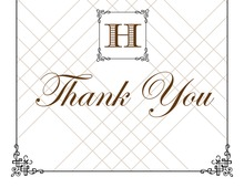 Wraught Iron Frame Brown Thank You Cards
