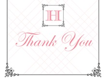 Wraught Iron Frame Pink Thank You Cards