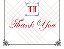 Wraught Iron Frame Red Thank You Cards