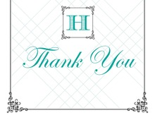 Wraught Iron Frame Turquoise Thank You Cards