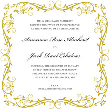 Elegant Formal Floral Gold Invitations