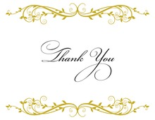 Elegant Floral Gold Thank You Cards