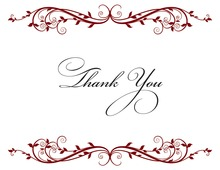 Elegant Floral Maroon Thank You Cards