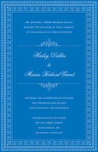 Layered Blue Vintage Borders Invitation