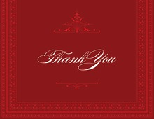Layered Red Vintage Borders Thank You Cards