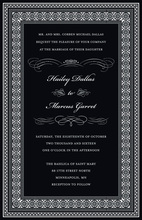 Formal Black Greek Key Frame Invitations
