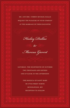 Red Square Formal Greek Key Frame Invitation