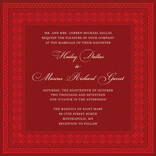 Red Square Formal Greek Key Frame Invitation