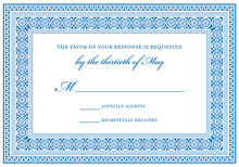 Blue Greek Key Frame RSVP Cards