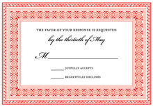 Red Greek Key Frame RSVP Cards