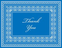 Blue Greek Key Frame Thank You Cards