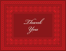 Red Greek Key Frame Thank You Cards