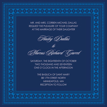 True Blue And Navy Classic Lotus Frame Invitation