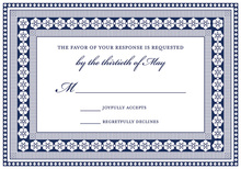 Navy Classic Lotus Borders RSVP Cards