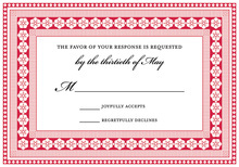 Red Lantern Classic Lotus Borders RSVP Cards