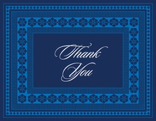 True Blue Navy Classic Lotus Frame Thank You Cards