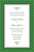 Leaf Green Nouveau Frame Invitations