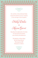 Mint Salmon Nouveau Frame Invitations