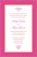 Hot Pink Red Nouveau Stylish Frame Invitations