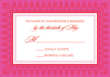 Hot Pink Red Nouveau Frame RSVP Cards