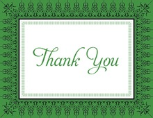 Leaf Green Nouveau Frame Thank You Cards