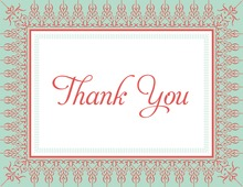 Mint Salmon Nouveau Frame Thank You Cards