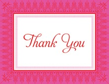 Hot Pink Red Nouveau Frame Thank You Cards