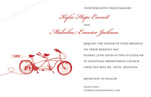 Two Red Bicycle Seater Invitations