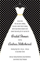 Stitched Bride Polka Dots Black Bridal Invitations